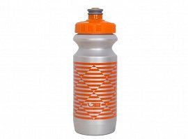 Фляга 600 мл STRIPES с большим соском, silver nipple/ orange cap/ Silver bottle